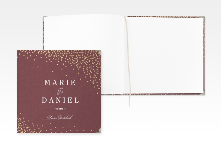 "Gästebuch Selection Hochzeit ""Glitter"" Leinen-Hardcover rot"