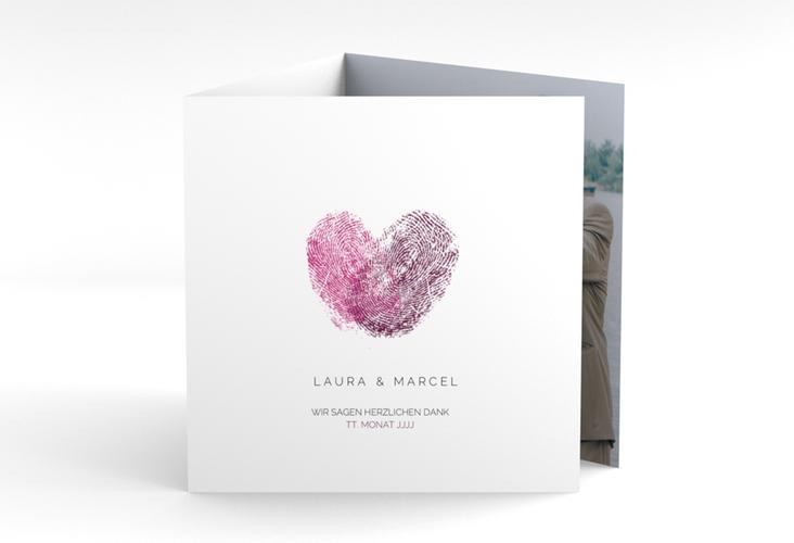 """Dankeskarte Hochzeit """"Fingerprint"""" Quadr. Karte doppelt pink"""