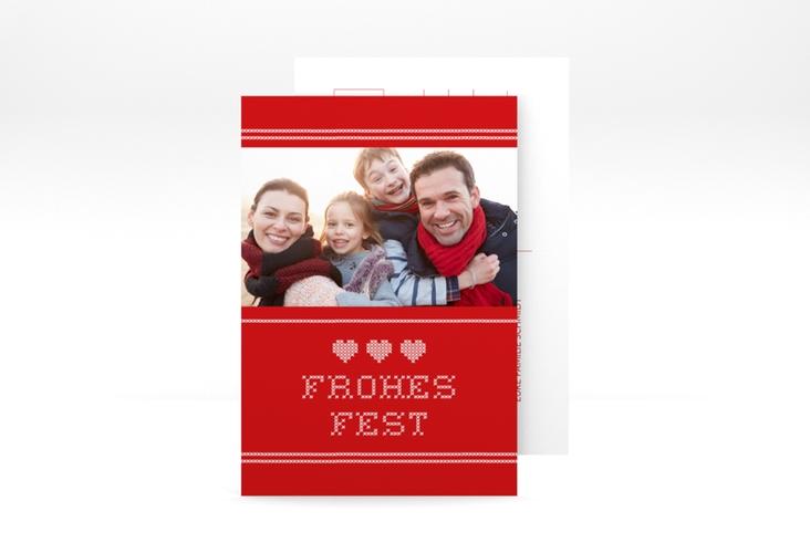 "Weihnachtskarte ""Stitch"" A6 Postkarte rot"