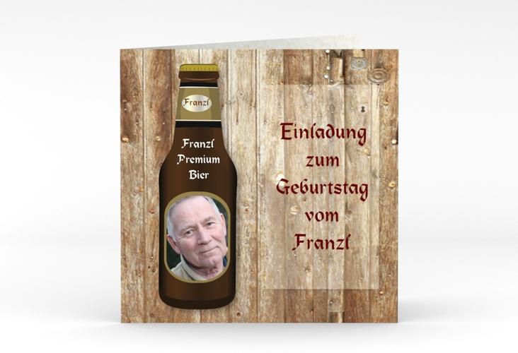 """Einladungskarte """"Hubert"""" Quadratische Klappkarte"""
