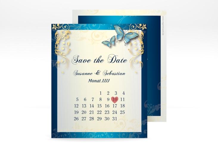 """Save the Date-Kalenderblatt """"Toulouse"""" Kalenderblatt-Karte blau"""