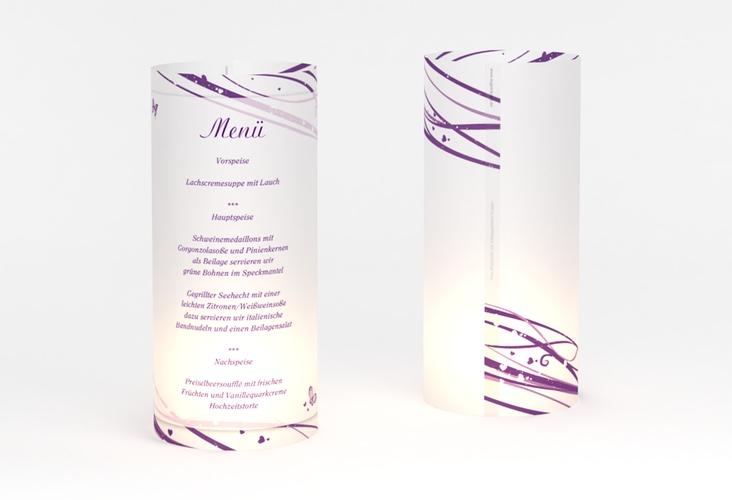 """Windlicht Menü Hochzeit """"Mailand"""" Windlicht lila"""