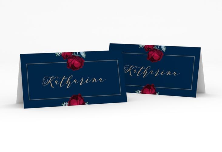 """Tischkarte Hochzeit """"Peonies"""" Tischkarten blau"""