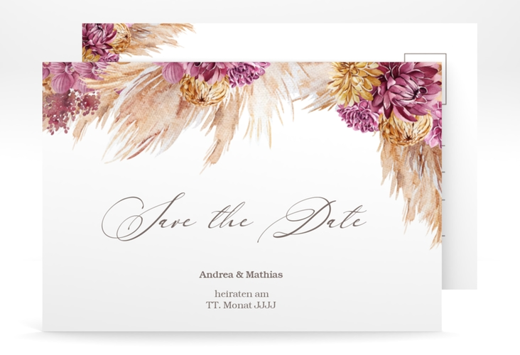 "Save the Date-Postkarte ""Pampas"" A6 Postkarte"