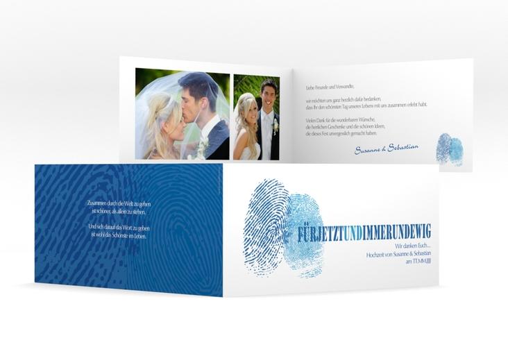 "Dankeskarte Hochzeit ""Messina"" DIN lang Klappkarte blau"