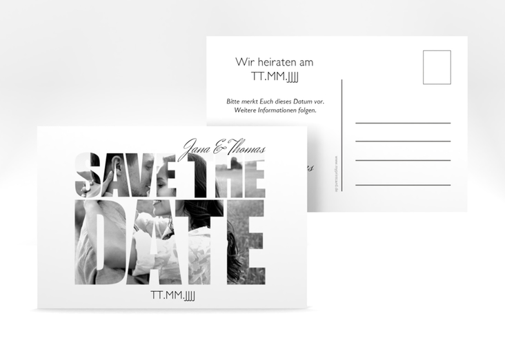 "Save the Date-Postkarte  ""Letters"" A6 Postkarte weiss"