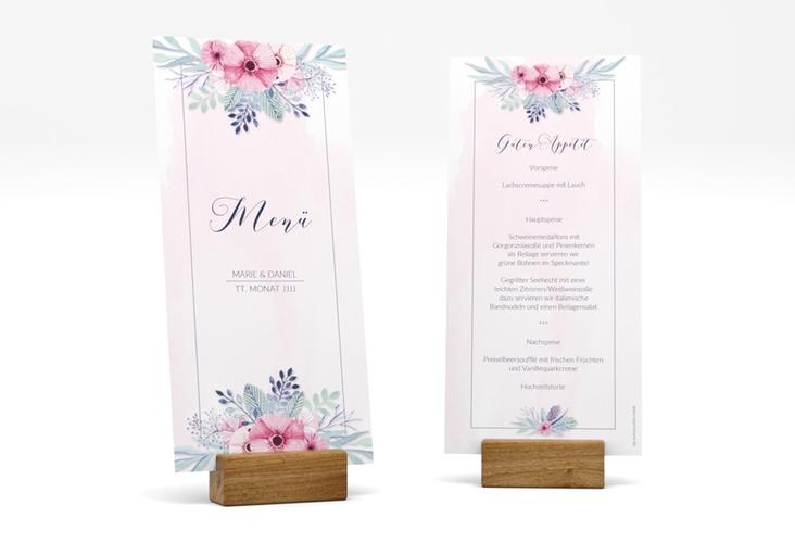 """Menükarte Hochzeit """"Surfinia"""" DIN lang hoch rosa"""
