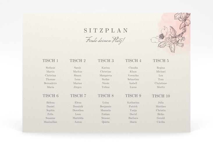 """Sitzplan Poster Hochzeit """"Artlover"""" 70 x 50 cm Poster rosa"""