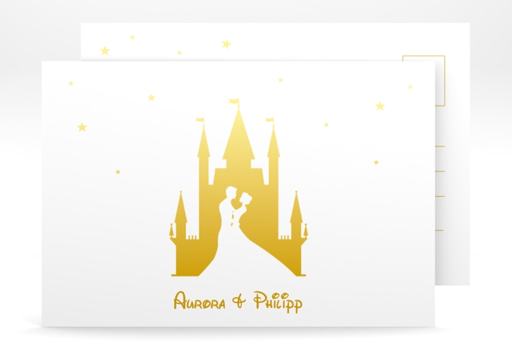 "Save the Date-Postkarte ""Castle"" A6 Postkarte gold"