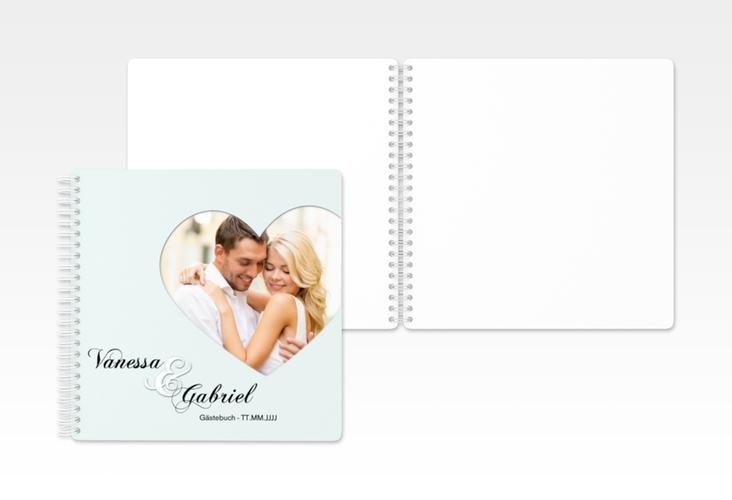 "Gästebuch Hochzeit ""Sweetheart"" Ringbindung tuerkis"