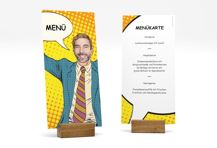 "Menükarte Geburtstag ""Popart Man"" DIN lang hoch gelb"