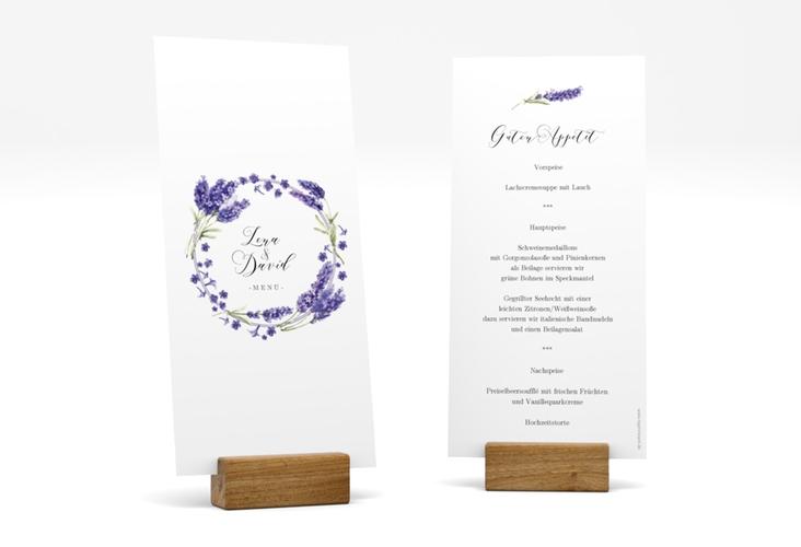 """Menükarte Hochzeit """"Lavendel"""" DIN lang hoch"""