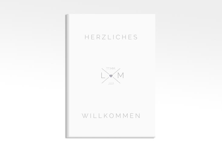 """Willkommensschild Hochzeit """"Initials"""" 50 x 70 cm Leinwand grau"""