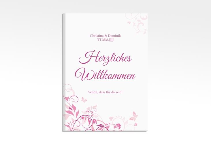 """Willkommensschild Leinwand """"Lilly"""" 50 x 70 cm Leinwand pink"""