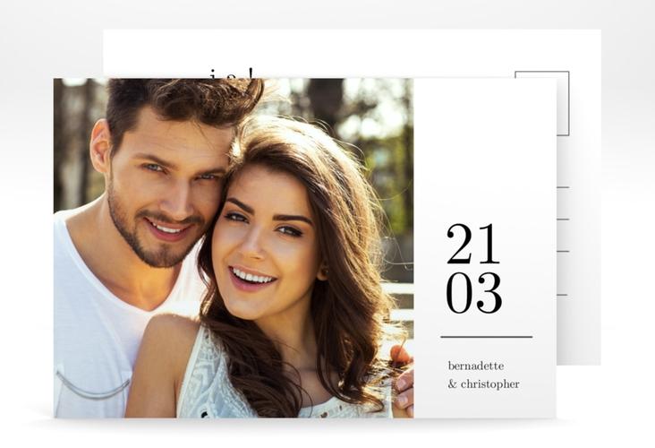 """Verlobungskarte Hochzeit """"Minimal"""" A6 Postkarte weiss"""