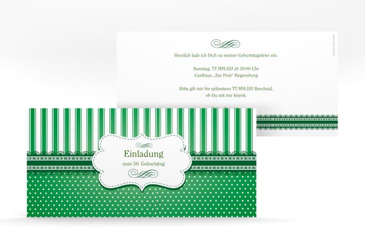 """Einladungskarte """"Heinrich/Henriette"""" DIN lang gruen"""