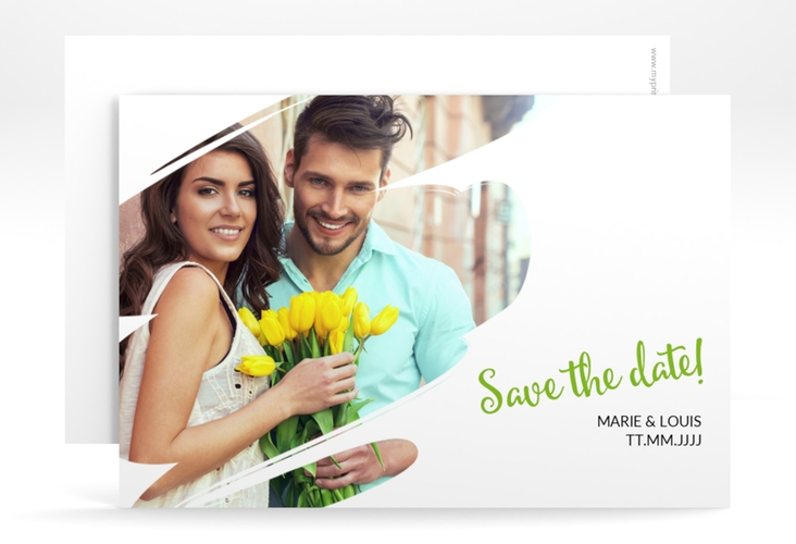 "Save the Date-Karte ""Felice"""" A6 quer gruen"