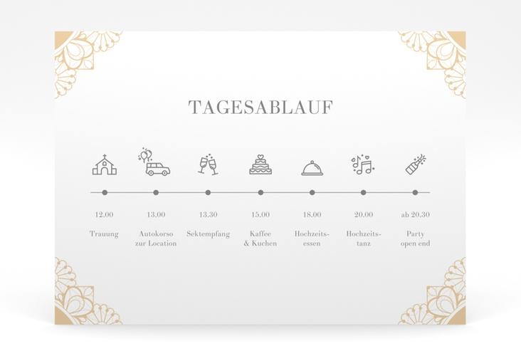 """Tagesablauf Poster Hochzeit """"Nostalgie"""" 70 x 50 cm Poster beige"""