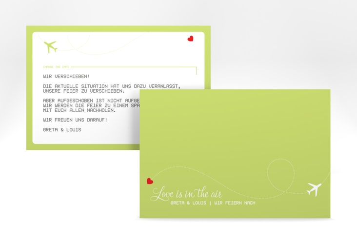 """Change the Date-Karte """"Weddingpass"""" A6 quer gruen"""