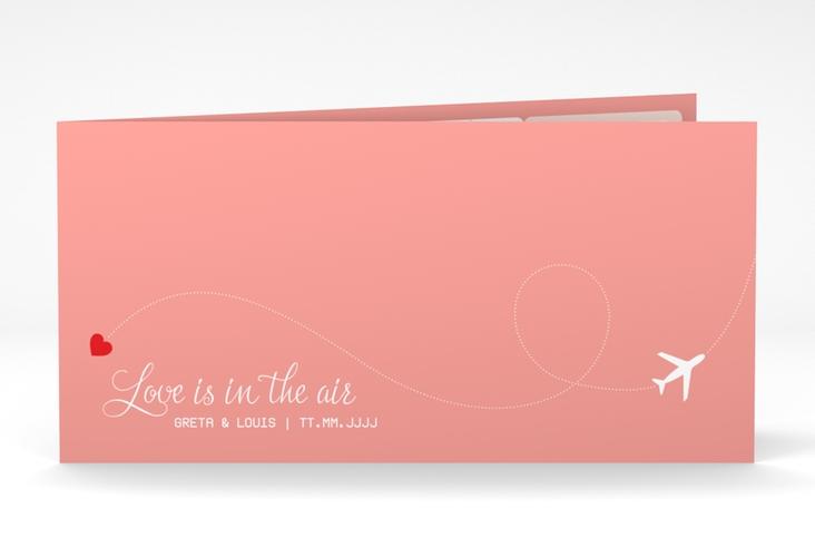 "Dankeskarte Hochzeit ""Weddingpass"" DIN lang Klappkarte rosa"