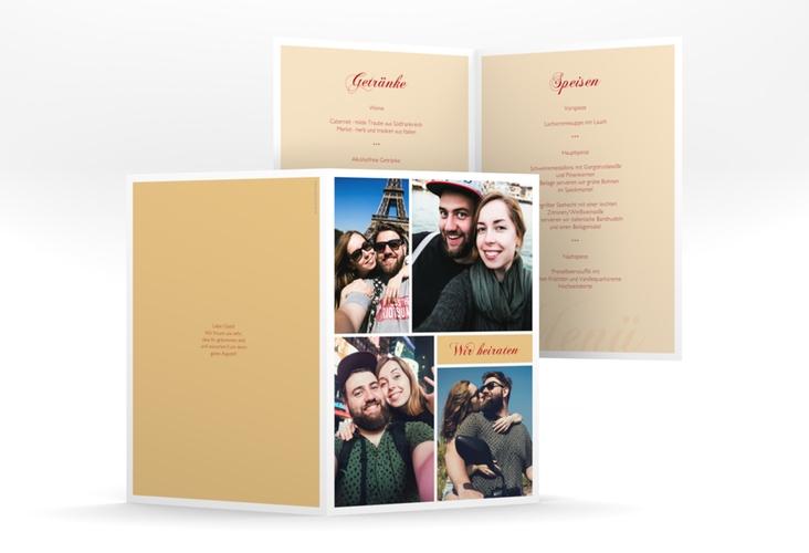 """Menükarte Hochzeit """"Collage"""" DIN A5 geklappt apricot"""