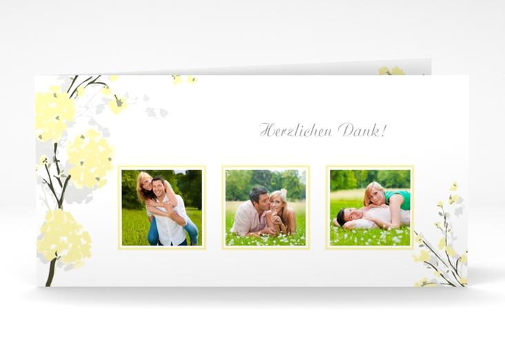 """Danksagungskarte Hochzeit """"Salerno"""" DIN lang Klappkarte gelb"""