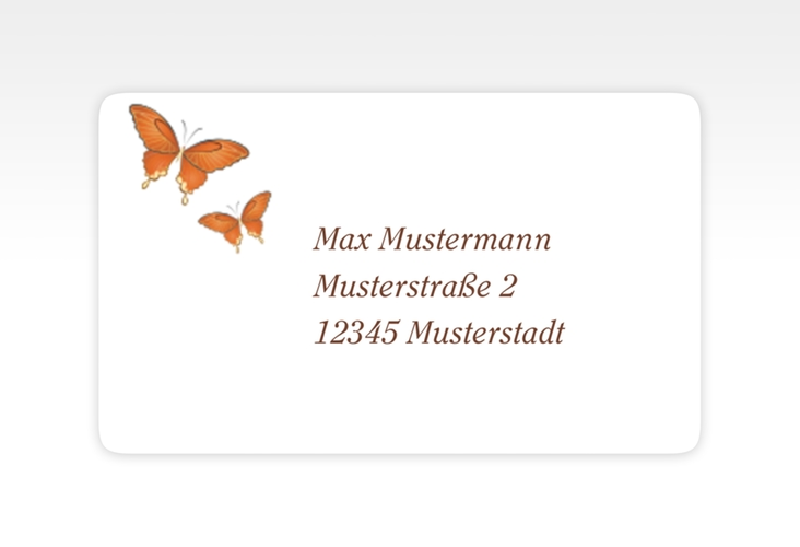 """Empfängeretikett Hochzeit """"Toulouse"""" 63,5 x 38,1 mm orange"""