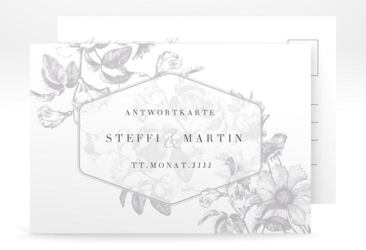 """Antwortkarte Hochzeit """"Magnificent"""" A6 Postkarte grau"""