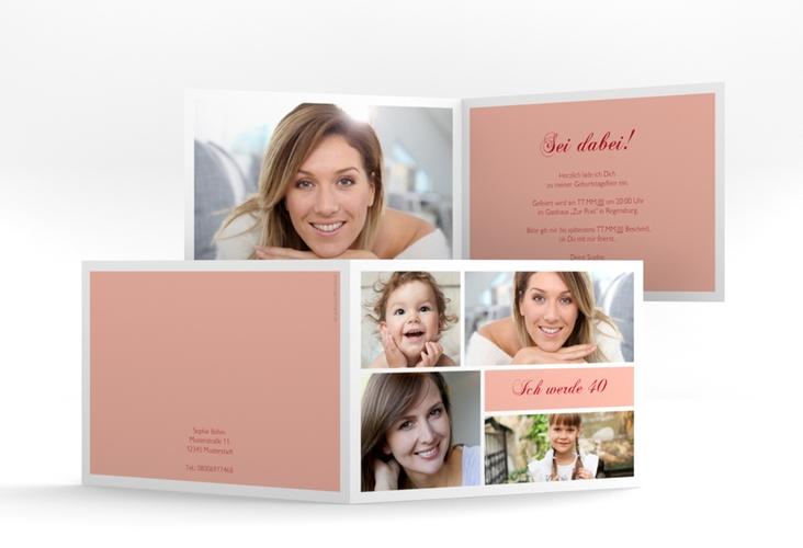 """Einladungskarte """"Bilderserie"""" A6 Klappkarte Quer rosa"""