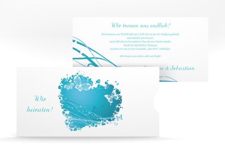 """Hochzeitseinladung """"Mailand"""" Einsteckkarte tuerkis"""