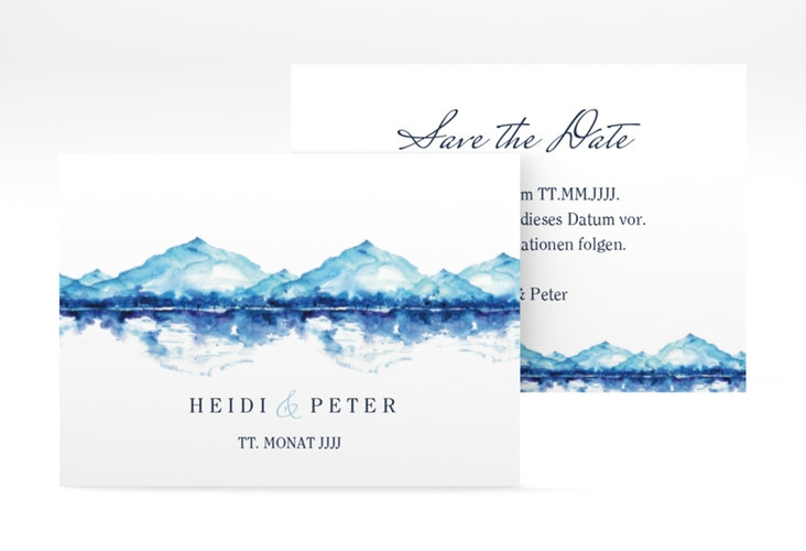 "Save the Date-Visitenkarte ""Bergliebe"" Visitenkarte blau"
