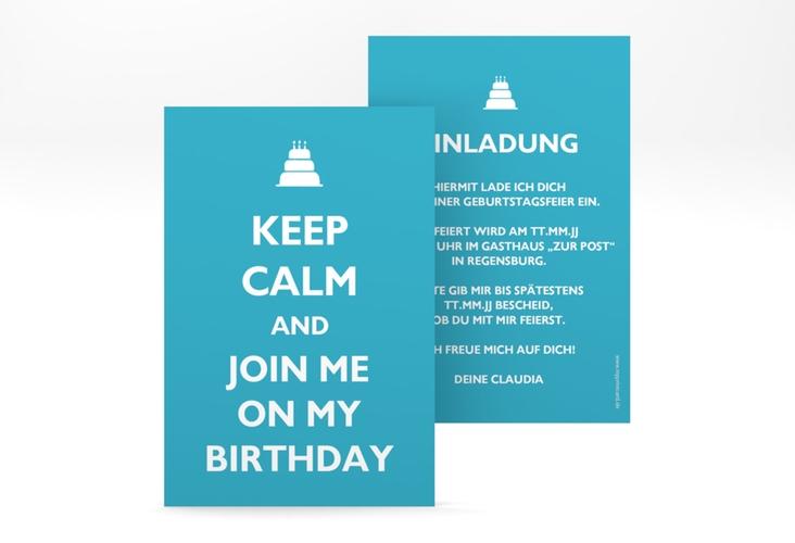 """Einladungskarte """"KeepCalm"""" A6 hoch tuerkis"""