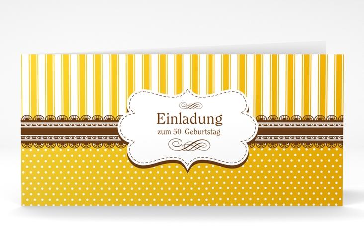 """Einladungskarte """"Heinrich/Henriette"""" DIN lang Klappkarte gold"""