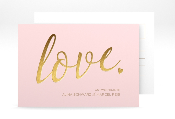 "Antwortkarte Hochzeit ""Glam"" A6 Postkarte rosa"