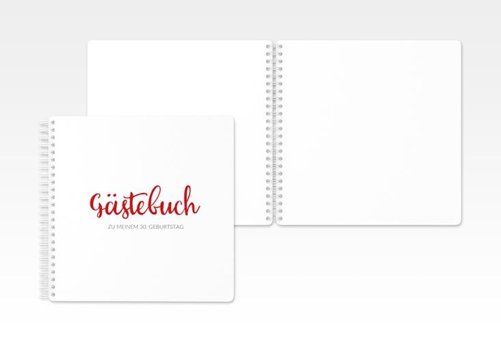 """Gästebuch Geburtstag """"Handwriting"""" Ringbindung rot"""