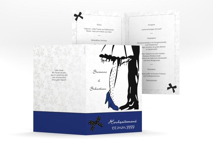 """Menükarte Hochzeit """"Straßburg"""" DIN A5 geklappt blau"""