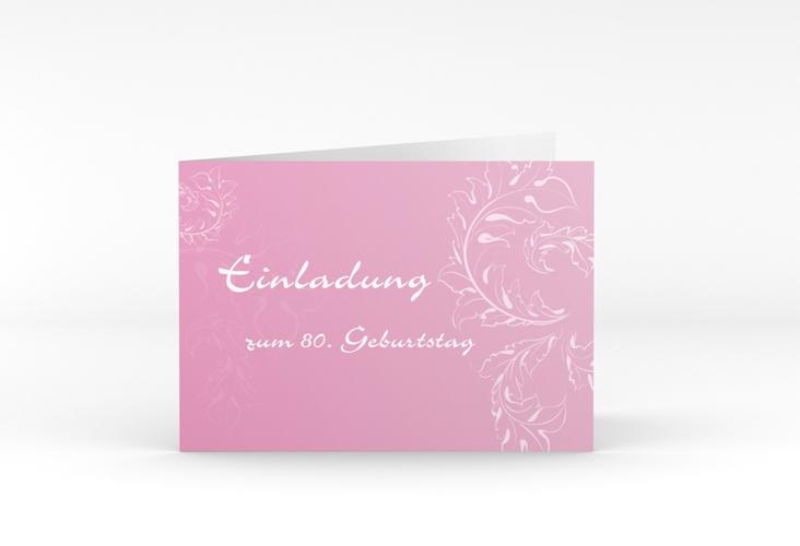 """Einladungskarte """"Peter/Petra"""" A6 Klappkarte Quer rosa"""