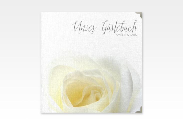 "Gästebuch Selection Hochzeit ""Rose"" Leinen-Hardcover weiss"