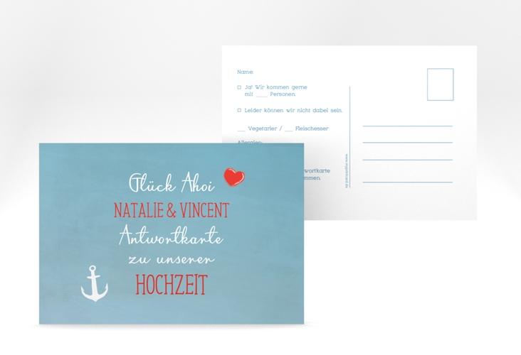 """Antwortkarte Hochzeit """"Ehehafen"""" A6 Postkarte"""