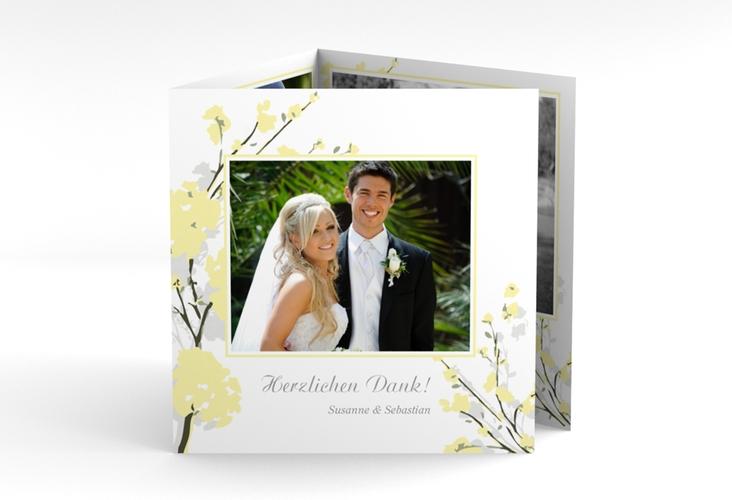 """Danksagungskarte Hochzeit """"Salerno"""" Quadr. Karte doppelt gelb"""