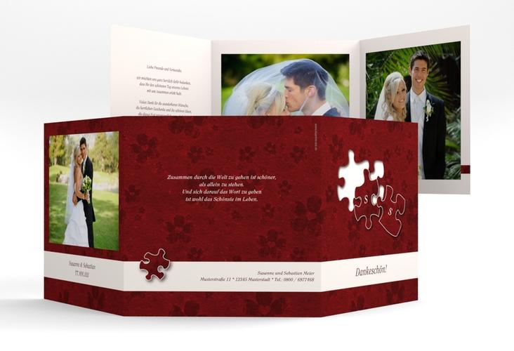 """Dankeskarte Hochzeit """"Ravensburg"""" Quadr. Karte doppelt rot"""