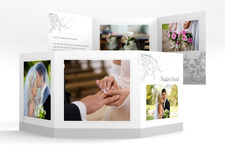 """Dankeskarte Hochzeit """"Florenz"""" Quadr. Karte doppelt grau"""