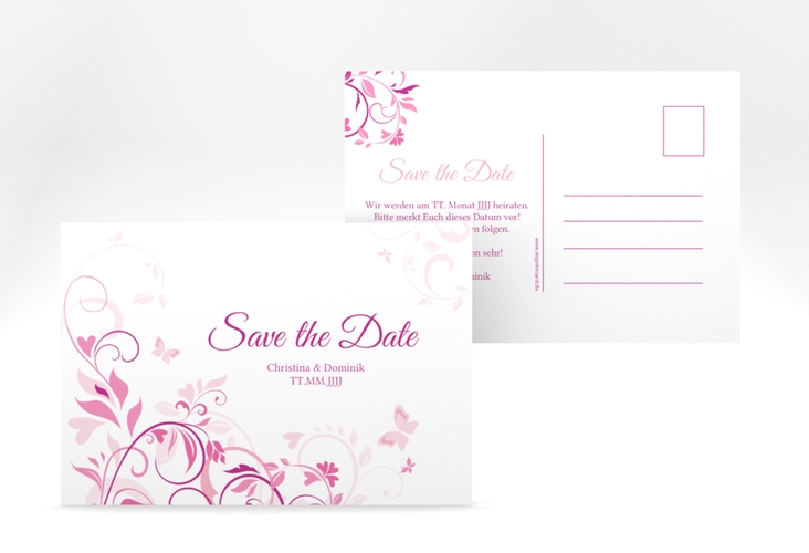 "Save the Date-Postkarte ""Lilly"" A6 Postkarte pink"