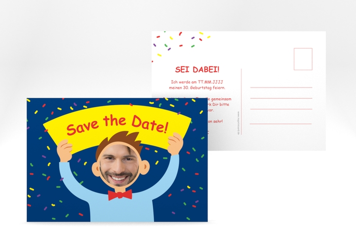 "Save the Date-Postkarte ""Comic Man"" A6 Postkarte blau"