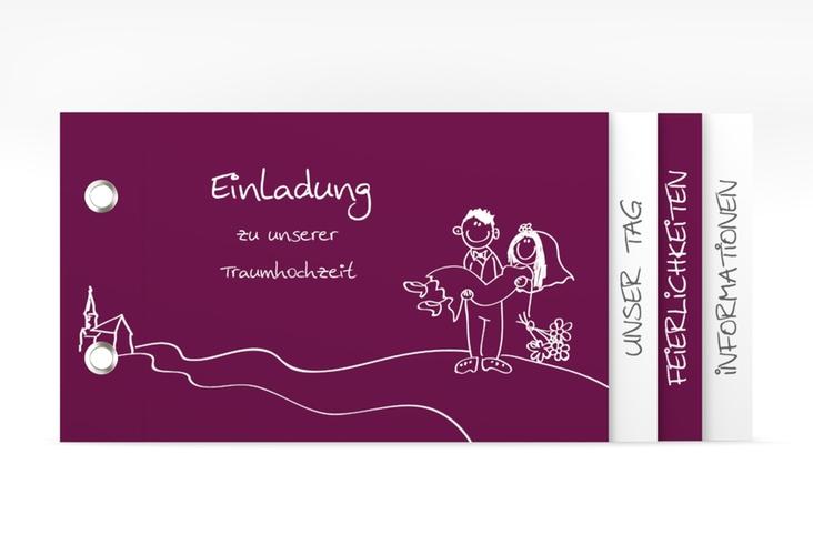 """Hochzeitseinladung """"Pisa"""" Booklet pink"""