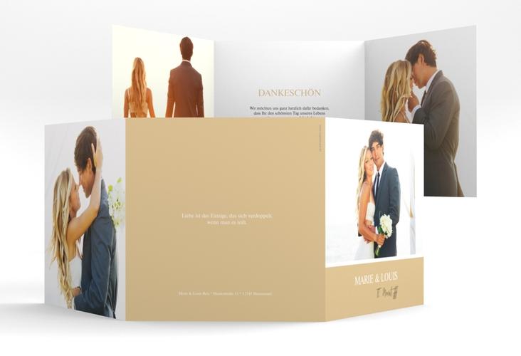 "Dankeskarte Hochzeit ""Balance"" Quadr. Karte doppelt beige"