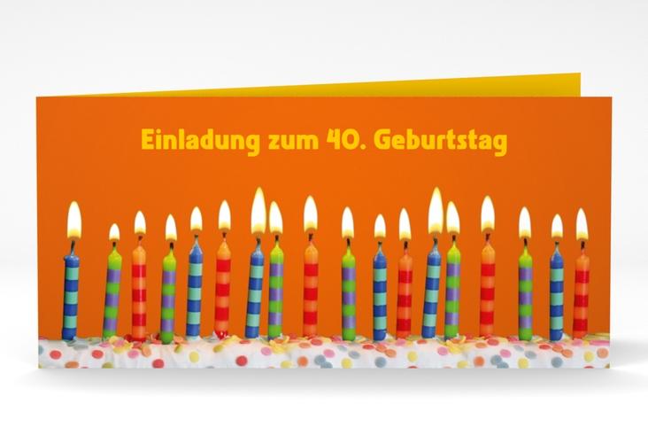 "Einladungskarte ""Candles"" DIN lang Klappkarte orange"