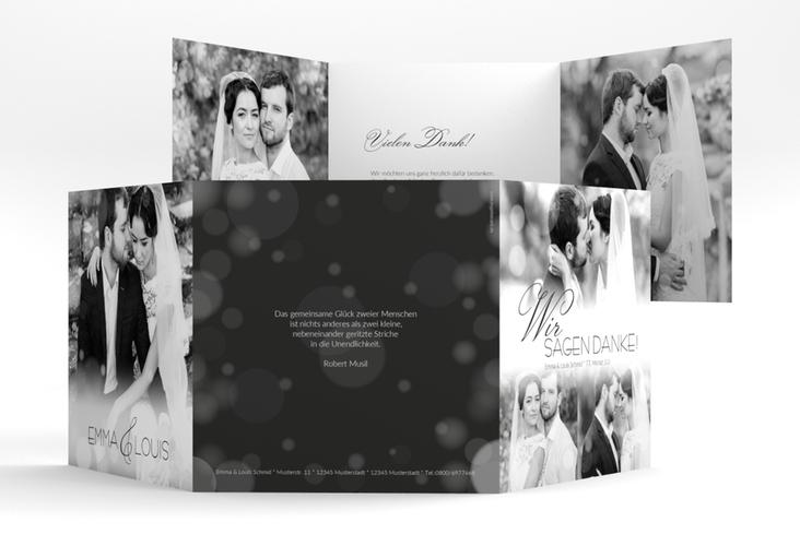 """Dankeskarte Hochzeit """"Bokeh"""" Quadr. Karte doppelt"""