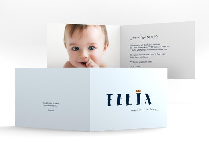 """Einladungskarte Taufe """"Crown"""" A6 Klappkarte Quer blau"""