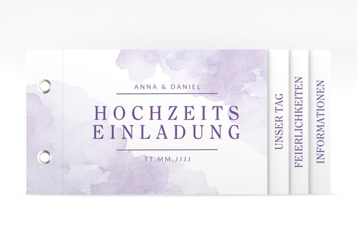 """Hochzeitseinladung """"Blush"""" Booklet lila"""